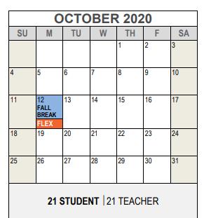 J T Stevens Elementary | 2020 2021 Academic Calendar For October