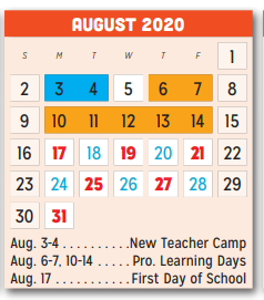 P A S S Learning Ctr | 2020 2021 Academic Calendar For August 2020