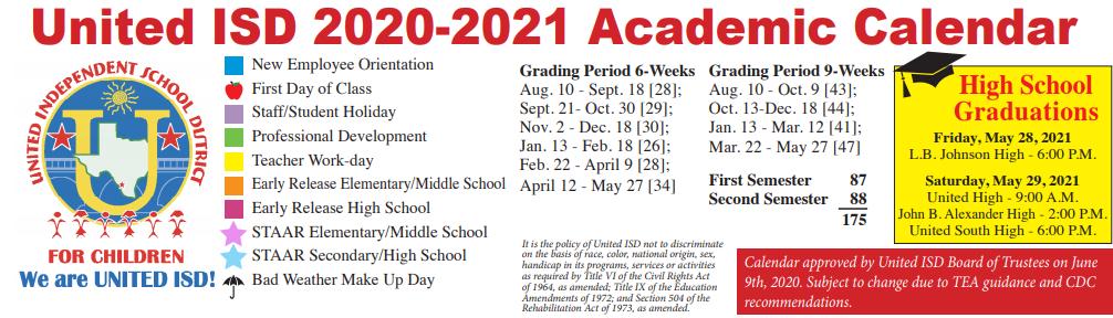 Uisd Academic Calendar 2021-22 John B Alexander High School   School District Instructional