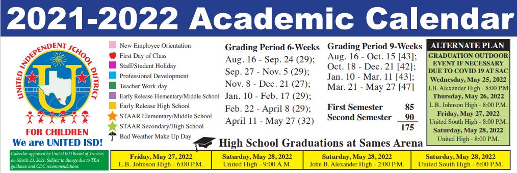 John B Alexander High School School District Instructional Calendar United Isd 2021 2022